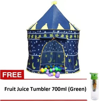Gonzalez Kiddie Castle Tent (Blue) with FREE Fruit Juice Tumbler700ml (Green)