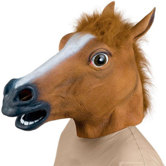 Halloween Horse Head Latex Rubber Mask Costume Prop Party Silicone Mask Brwon
