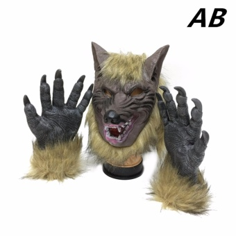 Halloween Scary masks Wolf Head Shaped Masquerade Mask Two Gloves - intl