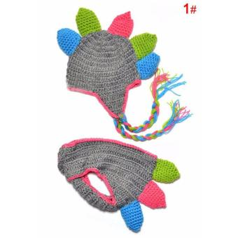 Handmade Crochet Baby Hat and Diaper Cover Newborn PhotographyProps Dinosaur Beanie with Shorts Children Costume Set - intl - 5