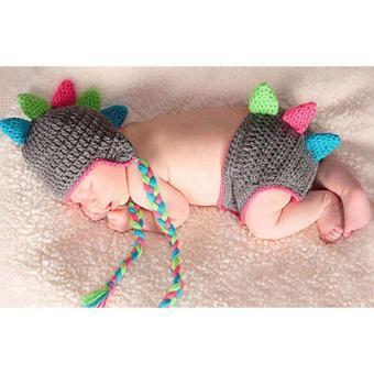 Handmade Crochet Baby Hat and Diaper Cover Newborn PhotographyProps Dinosaur Beanie with Shorts Children Costume Set - intl - 4