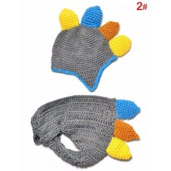 Handmade Crochet Baby Hat and Diaper Cover Newborn PhotographyProps Dinosaur Beanie with Shorts Children Costume Set - intl - 2