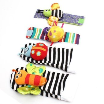 Hang-Qiao 4 Pcs New Baby Infant Foot Socks Rattles Wrist Rattles Black&White