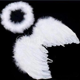 Hang-Qiao Baby Infant Angel Costume Feather Wings Fairy Props White