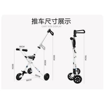 Hansen Portable Foldable 3 Wheel Kid Ride Push Car W HandleStroller Hot Deals (White) - 3