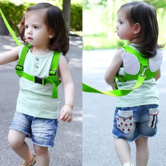 Haotom Safety Harness Leashes Strap Bag Anti-lost Angle WingsKeeper Toddler Walking Wings for Baby and Kids (Green)