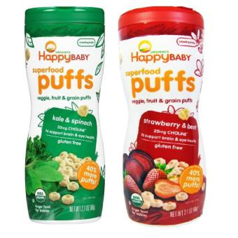 Happy Baby Puffs Bundle of Kale and Spinach, Strawberry and Beet