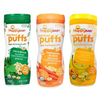 Happy Baby Puffs Bundle of Kale and Spinach, Sweet Potato and Carrot, Banana and Pumpkin