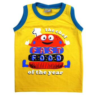 HAPPY KIDS Basic Sando and Shorts Fast Food of The Year Design(Yellow) - 2