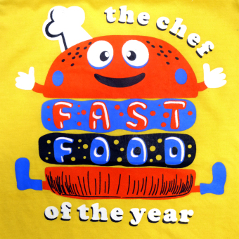 HAPPY KIDS Basic Sando and Shorts Fast Food of The Year Design(Yellow) - 3