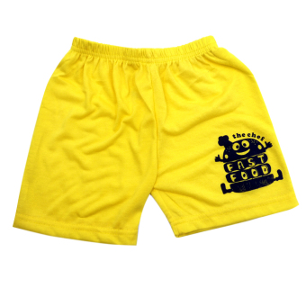 HAPPY KIDS Basic Sando and Shorts Fast Food of The Year Design(Yellow) - 4