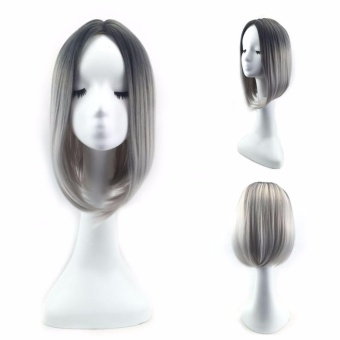 Heat Resistant Synthetic Ombre Wig Long Straight Bob Cosplay - intl