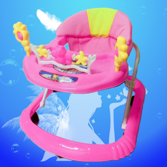 Height Adjustable Musical Soft Cushion Baby Walker A1 Pink