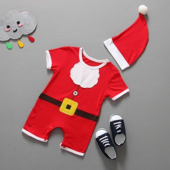 Hibote Baby Toddler Christmas Santa Claus Costume ROMPER + HAT 2-Piece Outfit 90 - intl - picture 2