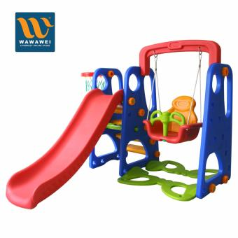 High Quality Children Playground Foldable Plastic Indoor/Outdoor Kids Slide Swing with Basketball Hoop Set No.3003 (Red/Blue) Price Philippines