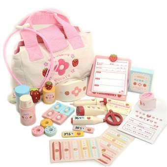 HKS Baby Toys Strawberry Wooden DoHKSrs Toys Pretend (Pink) - Intl