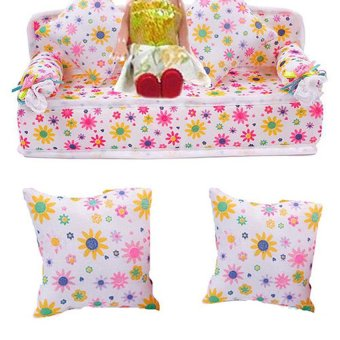 HKS Chic Mini Furniture Flower Soft Sofa Couch With 2 Cushions For Doll House - Intl - picture 2