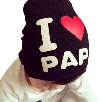 HKS Kids Hat Knitted Cotton Toddler I LOVE PAPA MAMA Black I Love Papa - Intl