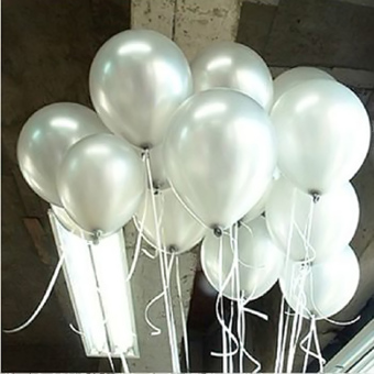 Hot 100pcs 10 inch Colorful Pearl Latex Balloon for Party WeddingBirthday (White)