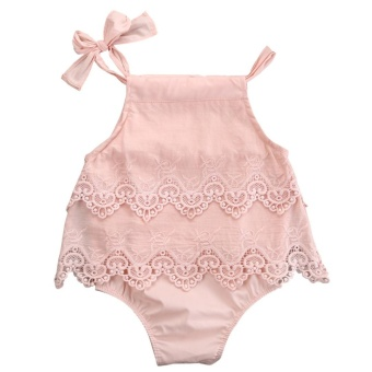 Hot Sale Baby Girl's Ins Hot Style Sleeveless Lace Halter Hanging Section Clothes - Pink - intl