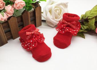 Hot Sale Cotton Floral Newborn Baby Kids Soft Non-slip Lace Socks(Red) - 2