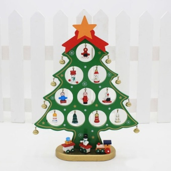 Hot Sale DIY Christmas Tree Wooden Crafts Ornaments Christmas Table Decoration M (Green) Hign Quality - intl