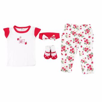 Hudson Baby Girl 4 pieces Set Layette Box Strawberries (Rose) ForBaby 0 to 3 Months Old