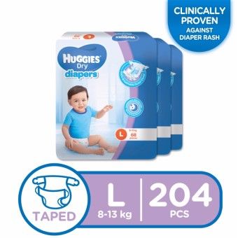 Huggies Dry Diapers Large - 68 pcs x 3 packs (204 pcs)