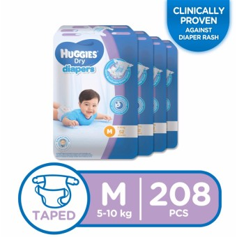 Huggies Dry Diapers Medium - 52 pcs x 4 packs (208 pcs)