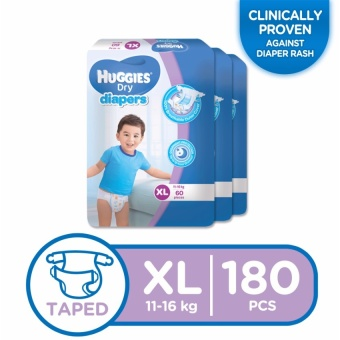 Huggies Dry Diapers XL - 60 pcs x 3 packs (180 pcs)