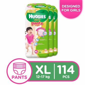 Huggies Ultra Pants for Girls XL - 38 pcs x 3 packs (114 pcs)
