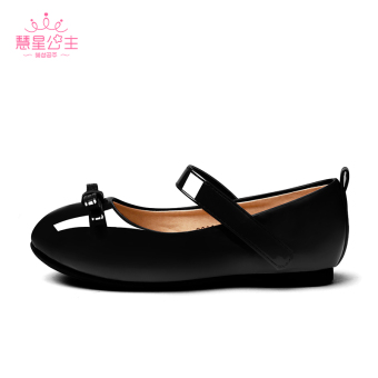 Hui Xing princess Spring and Autumn girls leather shoes bow leather shoes pad