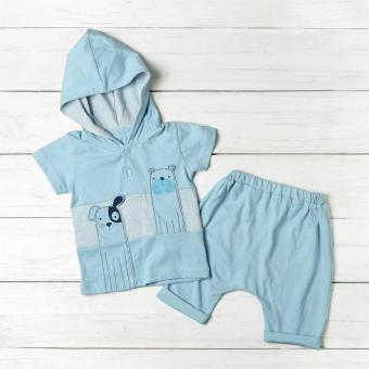 Hush Hush Baby Boys Dogs Hooded Tee and Pajama Set (Blue) Price Philippines