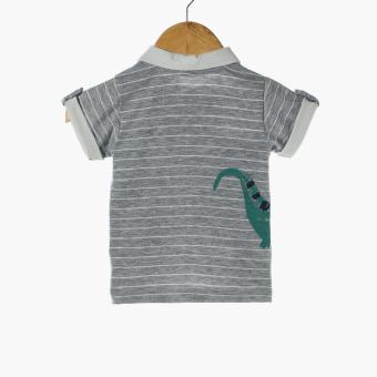 Hush Hush Baby Boys King Polo Shirt and Shorts Set (Gray) - 3