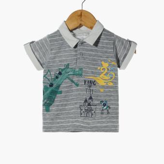 Hush Hush Baby Boys King Polo Shirt and Shorts Set (Gray) - 2