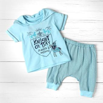 Hush Hush Baby Boys Knight or Day Hooded tee and Pajama Set (Blue)