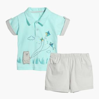 Hush Hush Boys Bear Flying Kite Polo Shirt and Shorts Set(Turquoise) Price Philippines
