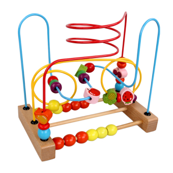 360WISH Counting Fruit Bead Wire Maze Roller Coaster Wooden Educational Toy for Baby Kids Chilrden Price Philippines