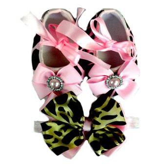 Baby Shoes and Headband in Set (Pink with Zebra Pattern) Price Philippines