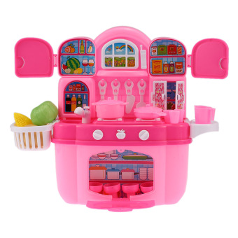 Harga Colorful Kitchen Play Set Happy Cook Children Kids Toy Kichen Cabinet Play House Toy with Flashing Lights and Music - intl