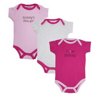 Harga Luvable Friends Newborn Baby Girls Bodysuit 3-Pack, Girl Mommy