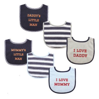 Harga Luvable Friends Baby Boys Bib 3-Pack, Boy Mommy, Daddy