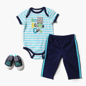 Harga Pure Boys I'm Scary Cute Onesie, Meggings, And Sneakers Set (Blue)