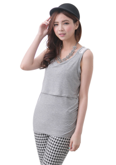 Harga MamaLove Modal Breastfeeding Pregnancy Maternity Clothes Sleeveless Nursing Tank Top Maternity Tops For Pregnant Women(Grey)Fit (M~XXL) - Intl