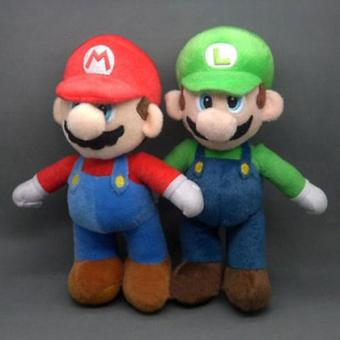 Harga 2Pcs 25cm Cute Children Mario Plush Doll Stuffed Toy Gift Accessories Set - intl