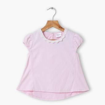Harga Little Miss Girls Crochet Puff Sleeve Hi-Lo Top (Pink)
