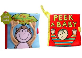 Jolly Baby Set of 2 Soft Cloth Books (Monkey Book/ Peek-A-Baby) Price Philippines