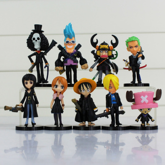 ONE PIECE Luffy Nami Chopper Robin Zoro Sanji Brook Golden Lion Shiki Pvc Figure Dolls 9pcs/lot All Black Clothes Cute Mini Toy Price Philippines