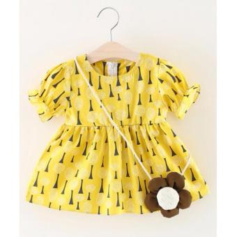 Harga Yellow Printed Puff Sleeves Baby Dress with Sling Bag Kids Fashion Casual Summer Dress Girls Cute Lovely Formal Dress