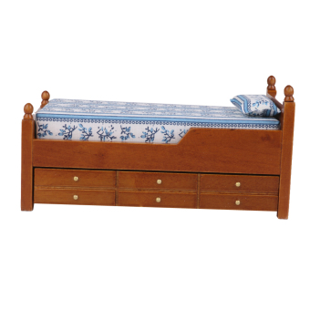 Harga Scale Furniture Miniature Wooden Drawer Bed Brown